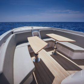 Frauscher motor boat lounge area